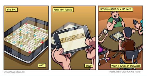 Tira cómica sobre el Scrabble en el iPad