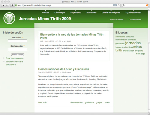 Página web de las Jornadas Minas Tirith 2009