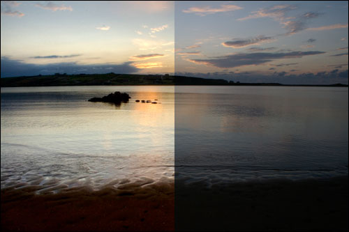 Playa de Mogro, con y sin retoque