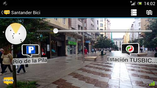 Captura de pantalla de Wikitude Santander Bici